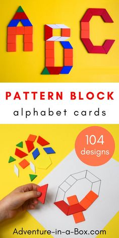 Pattern Block Alphabet: Printable Challenge Cards Combine early literacy with STEM and teach the alphabet in a playful hands-on way with these printable pattern block cards! Kindergarten Stem, Kindergarten Lesson Plans, Alphabet Activities Kindergarten, Stem Preschool, Teaching The Alphabet, Learning Letters, Alphabet Games, Alphabet Board, Letter Activities