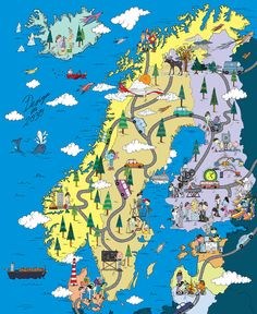 Iceland, Norway, Sweden, Denmark, and Finland by Merijn Hos Scandinavian Countries, Cg Art, Map Design, City Maps, Plans, Helsinki, Travel Posters, Stockholm, Illustration