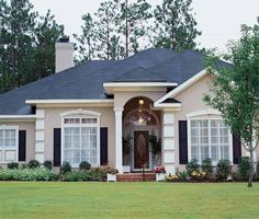 ft Eplans Mediterranean House Plan - Stately Interior Columns - 2241 Square Feet and 4 Bedrooms from Eplans - House Plan Code Tyni House, Facade House, Bungalow Floor Plans, House Floor Plans, Mediterranean House Plans, Mediterranean Style, House Paint Exterior, Exterior House Colors, Stucco Colors