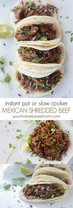 Instant Pot or Slow Cooker Mexican Shredded Beef Recipes - Easy and delicious family dinner that's always a big hit - even with picky eaters!