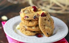 Simply Blissful Chewy White Chocolate Cranberry Cookies