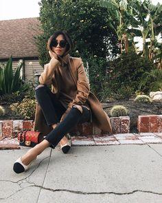 camel coat, camel turtleneck, black jeans Turtleneck Outfit Ideas | POPSUGAR Fashion