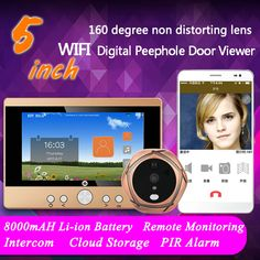 "5"" 720P WiFi Wireless Digital Peephole Door Viewer  Video Camera Wifi Doorbell with Intercom or take picture or take video"