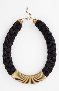 shopstyle.com: Carbon Copy 'Braided Coil' Collar Necklace Black/ Gold