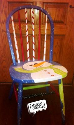 Hand-painted Christmas Snowman Chair