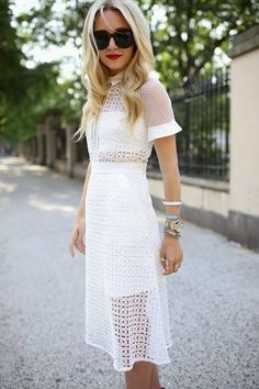 Self Portrait White Lace Eyelet Crochet Midi Dress