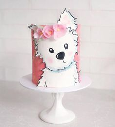 The sweetest puppy cake from 😍🐶 . Share your baking, making, partying and caking with us by using or tagging us… Fancy Cakes, Cute Cakes, Fondant Cakes, Cupcake Cakes, Fondant Bow, 3d Cakes, Fondant Tutorial, Fondant Flowers, Fondant Figures