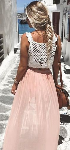 #summer #young #outfits   White Crochet Top + Blush Pleated Skirt