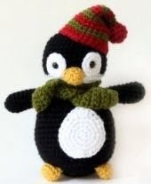 A cute little penguin with xmas scarf & beanie hat, which you can make any colour you like.   Easy to Medium difficulty.   {pattern here}
