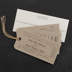Typography Tags - Invitation  This invitation has a typography-based design that brings out a vintage-inspired wedding style.