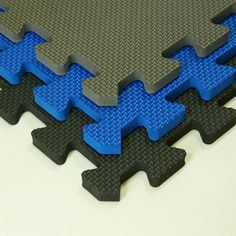 New exercise room floor - blue - nice and bright.. need to get.