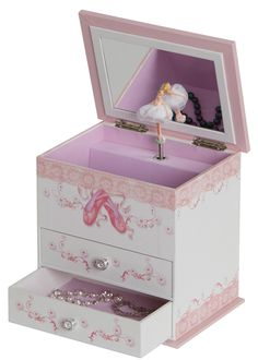 Angel Girl's Wooden Musical Ballerina Jewelry Box with Fashion Paper Overlay $26.00