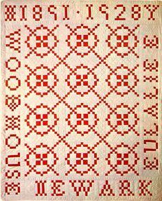 Vintage red and white Burgoyne Surrounded quilt, Newark