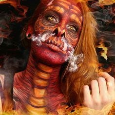 My dragon makeup! I really rushed through this, so I think I might try another, more detailed dragon! Maybe blue! #dragon #dragonmakeup #dragonface #dragonfacepaint #redhair #redhead #redheads #reddragon #smoke #fire #mua #makeup #makeupartist #mehron #photography #photographer #facepaint #facepainter #bodypaint #bodypainter #art #artist #artistry #artwork