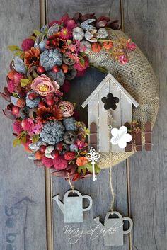 A Rustic Wreath - Cute Spring Door Decorations Spring Door Wreaths, Summer Wreath, Wreaths For Front Door, Christmas Wreaths, Christmas Crafts, Christmas Decorations, Holiday Decor, Pine Cone Crafts, Deco Floral