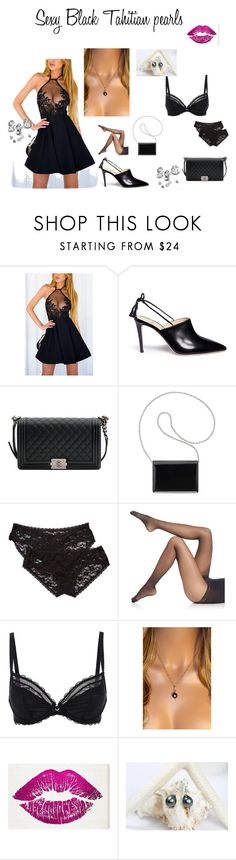 """""""Sexy Black Tahitian pearls"""" by zebacreations on Polyvore featuring Alexander White, Chanel, Nine West, Honeydew Intimates, Falke, Chantelle and Oliver Gal Artist Co."""