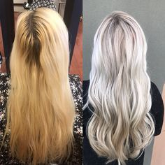 Platinum blonde hair, color correction, before and after Wella hair color, olaplex