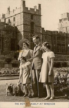 King George VI of UK with his family: Queen Elizabeth (Elizabeth Angela Marguerite Bowes-Lyon) (1900-2002) UK the Queen Mother, King George VI (Albert Frederick Arthur George) (1895-1952) UK, Princesses Margaret Rose (1930-2002) of York, UK & Elizabeth II  (Elizabeth Alexandra Mary) (1926-living2013) of York, UK by Miss Mertens, via Flickr.