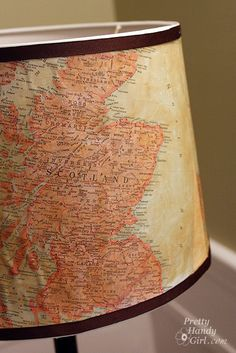 Have you been on a unique vacation lately that you want to remember? Do you want to update a plain vanilla lamp shade? Guess what, you can do both with this vintage map lamp shade! Recently I revamped a shade by hot gluing paint chips to the shade. The result was a beautiful ombre lamp …