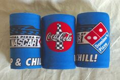 Lot of 3 ~ Nascar Domino's Coca-Cola Wrap & Chill Snap Foam Koozies ~ Can Holder