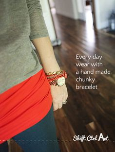 DIY -- how to make a chunky bracelet jewelry TUTORIAL