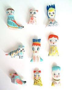 Miniature folk doll hand painted display art by JessQuinnSmallArt