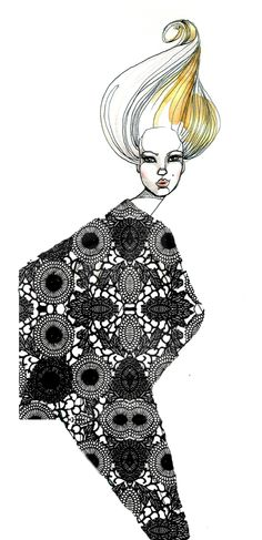 Sara Ligari #illustration | saraligari.it/ totally dig the patterned body but detailed face and hair!!