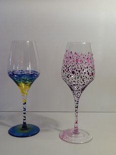 Verre et bouteille peinte recherche google verrerie - Peinture sur plateau en verre ...