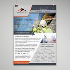 Construction Company Capability Statement Design by Freelance-Studio Ad Design, Graphic Design, Logo Design, Design Ideas, Marketing Postcard, Technology Consulting, Flyer And Poster Design, Statement Template, Custom Postcards