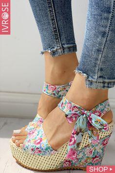 Shop Sexy Trending Pumps & Heels – IVRose offers the best women's fashion Pumps & Heels deals Platform Wedge Sandals, Wedge Shoes, Platform Converse, Heeled Sandals, Flat Sandals, Shoes Sandals, Fashion Pattern, Mode Style, Summer Shoes