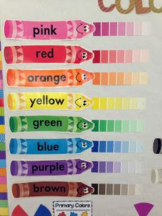 The Learning Tree: Art Room Tour & Pinterest finds! use paint strips from store to show tinting