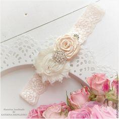 Купить Подвязка невесты нежный цветок (повязка на голову) (на заказ) - кремовый…