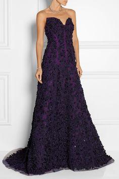 Oscar de la Renta Embellished floral-appliquéd tulle and silk-organza strapless gown NET-A-PORTER.COM