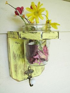 Rustic wood shelf / sconce keyholder home decor by SouthernWood, $20.00