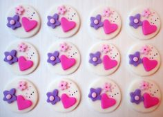 Fondant Cupcake Toppers - Heart and Flowers