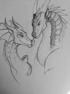 Glory & Deathbringer - I ship them together too! Not mine Fantasy Drawings, Cool Art Drawings, Art Drawings Sketches, Cool Dragon Drawings, Drawings Of Dragons, Drawing Ideas, Animal Sketches, Animal Drawings, Kobra Tattoo