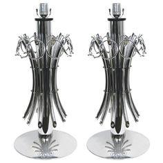 1970s Grand Pair of Italian Chromed Lamps   https://www.cosulichinteriors.com