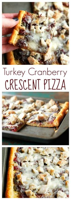 Turkey Cranberry Crescent Pizza - the perfect Thanksgiving leftovers recipe using Pillsbury Crescents for the dough! So easy and just 5 ingredients. #warmtraditions #ad