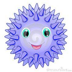 Cute sea urchin vector Smiling spiky animal cartoon character isolated on white background Ocean animal, funny sea life theme crea