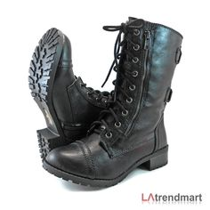 Military Combat Mid Calf Motorcycle Lace Up Women Boots Zipper Soda Dome Black | eBay