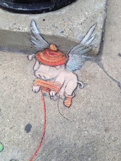 Cute hat and sock on Flying Pig by David Zinn