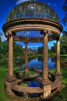 Ancient Gazebo at Hartland Abbey in Hartland, Devon, England. Hartland Abbey is a former abbey and current family home to the Stucley family. It is located in Hartland, Devon. The current owner is Sir Hugh George Copplestone Bampfylde Stucley, Baronet. Ancient Architecture, Beautiful Architecture, Vintage Architecture, Beautiful World, Beautiful Gardens, Wonderful Places, Beautiful Places, Beauty Dish, Funny Signs