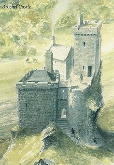 Watercolour reconstruction of 'Brochel Castle', Raasay, in the late 16th century, by David L Roberts.
