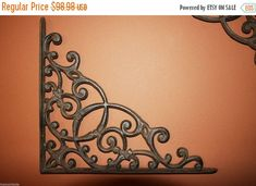 ON SALE 4, Huge Victorian, Shelf Brackets, Wall, Shelf, Bracket, Corbels, Cast Iron, Support étagère, Book Shelf, Heavy Duty Brackets, B-2 by wepeddlemetal. Explore more products on http://wepeddlemetal.etsy.com
