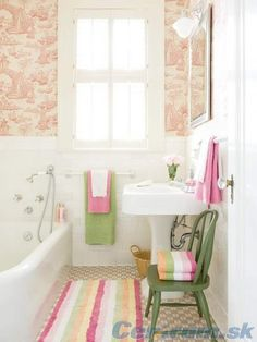 .green and pink accents