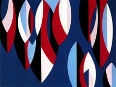 Karl Benjamin: Theme and Variations, oil on canvas, 91 x 122 cm x 48 in), 1956 Hard Edge Painting, Jewelry Wall, Contemporary Abstract Art, Geometric Art, Op Art, Artist Art, Pattern Art, Lovers Art, Oil On Canvas