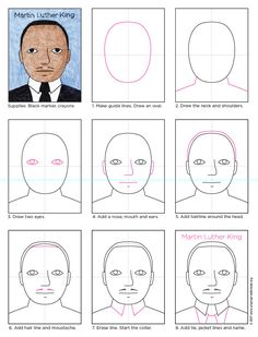 How to Draw Martin Luther King. Great for elementary students. Free PDF tutorial available. #mlk #MartinLutherKing #howtodraw #directdraw