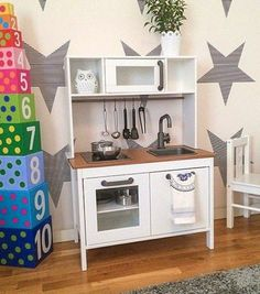 IKEA play kitchen makeover: paint entire thing white and stain countertop. Ikea Malm Hack, Cool Kitchens, Ikea Play Kitchen, Kitchen Sets For Kids, Ikea, Mommo Design, Ikea Toys, Kitchen Sets, Ikea Kitchen