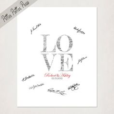 Wedding Guest Book Alternative // Custom Love Wedding Sign for signatures // Love wedding print with names // Gray and Red