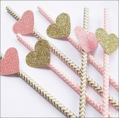 Pink And Gold Chevron Party Straws With Glitter Hearts